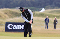 Kristoffer Broberg (SWE) on the 9th green during Round 3 of the 2015 Alfred Dunhill Links Championship at Kingsbarns in Scotland on 3/10/15.<br /> Picture: Thos Caffrey | Golffile