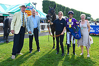 Connections of Ashazuri in the winners enclosure after winning The Shadwell Stud Racing Excellence Apprentice Handicap,p during Father's Day Racing at Salisbury Racecourse on 18th June 2017