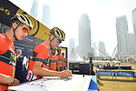 Vincenzo Nibali (ITA) and Bahrain-Merida team at sign on before the start of Stage 2 The  Ras Al Khaimah Stage of the Dubai Tour 2018 the Dubai Tour&rsquo;s 5th edition, running 190km from Skydive Dubai to Ras Al Khaimah, Dubai, United Arab Emirates. 7th February 2018.<br /> Picture: LaPresse/Massimo Paolone | Cyclefile<br /> <br /> <br /> All photos usage must carry mandatory copyright credit (&copy; Cyclefile | LaPresse/Massimo Paolone)