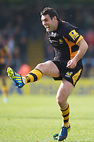 Stephen Jones of London Wasps shows emotion as he takes a penalty kick during the Aviva Premiership match between London Wasps and Worcester Warriors at Adams Park on Sunday 7th October 2012 (Photo by Rob Munro)