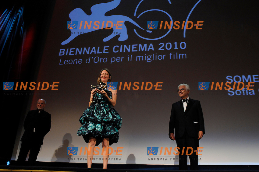 "- ""67 Mostra Internazionale D'Arte Cinematografica"". Saturday,2010 September 11, Venice ITALY....- In The Picture: The film director Sophia Coppola, Golden Lion for Best Film, at the Awards of the 67th Venice Film Festival. ......Photo STEFANO MICOZZI"
