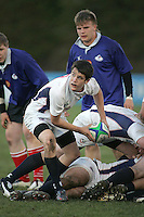 USA scrum half Sean Treacy gets the ball away during the IRB U19 World Championship Division B first round clash against Russia played at Gibson Park, Belfast. Result Russia 0 USA 6.