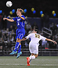 Jake Gedacht #14 of Calhoun goes up for a header during the Nassau County varsity boys soccer Class AA final against Massapequa at Hofstra University on Wednesday, Nov. 2, 2016.