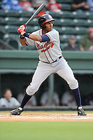 Third baseman Carlos Franco (11) of the Rome Braves bats in a game against the Greenville Drive on Thursday, July 31, 2014, at Fluor Field at the West End in Greenville, South Carolina. Rome won the rain-shortened game, 4-1. (Tom Priddy/Four Seam Images)