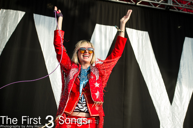 Karen O (Karen Lee Orzolek) of the Yeah Yeah Yeahs performs during Day 2 of the 2013 Firefly Music Festival in Dover, Delaware.