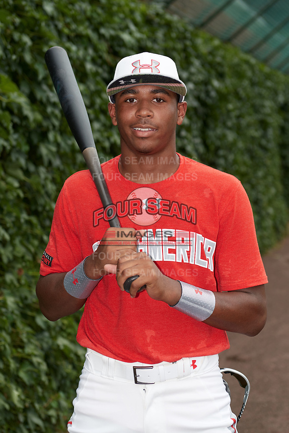 Joe Gray (11) of Hattiesburg High School in Hattiesburg, Mississippi poses for a photo before the Under Armour All-American Game presented by Baseball Factory on July 23, 2016 at Wrigley Field in Chicago, Illinois.  (Mike Janes/Four Seam Images)