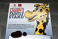 General view of the Lanky's Family Stand signage ahead of during Lancashire CCC vs Essex CCC, Specsavers County Championship Division 1 Cricket at Emirates Old Trafford on 9th June 2018