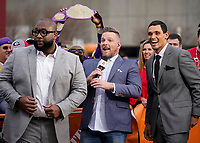 ATLANTA, GA - DECEMBER 7: Marcus Spears, Pat McAfee and David Pollack at ESPN College Game Day during a game between Georgia Bulldogs and LSU Tigers at Mercedes Benz Stadium on December 7, 2019 in Atlanta, Georgia.