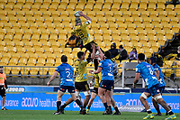 Hurricanes&rsquo; Blade Thomson in action during the Super Rugby - Hurricanes v Blues at Westpac Stadium, Wellington, New Zealand on Saturday 7 July 2018.<br /> Photo by Masanori Udagawa. <br /> www.photowellington.photoshelter.com