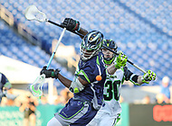 Annapolis, MD - July 7, 2018: New York Lizards Pat Frazier (30) knocks the ball out of Chesapeake Bayhawks Myles Jones (15) stick during the game between New York Lizards and Chesapeake Bayhawks at Navy-Marine Corps Memorial Stadium in Annapolis, MD.   (Photo by Elliott Brown/Media Images International)
