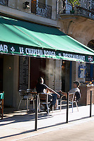 A cafe. Le Chapeau Rouge. On Cours du Chapeau Rouge. Bordeaux city, Aquitaine, Gironde, France