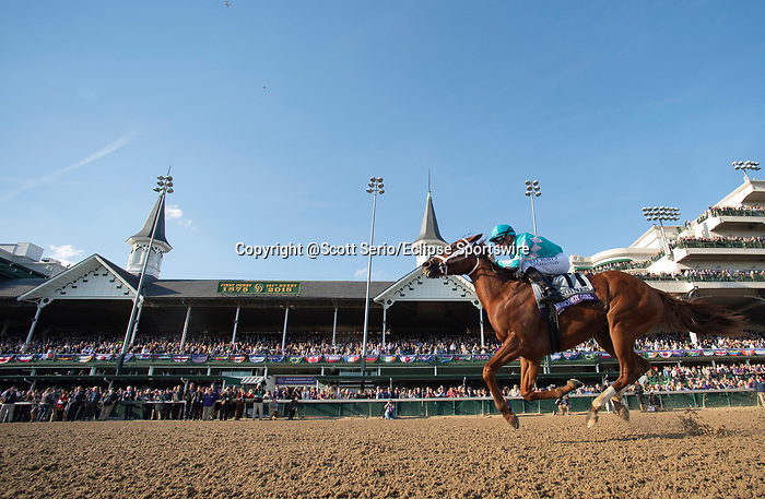 November 3, 2018: Monomoy Girl #11, ridden by Florent Geroux, wins the Longines Breeders' Cup Distaff on Breeders' Cup World Championship Saturday at Churchill Downs on November 3, 2018 in Louisville, Kentucky. Scott Serio/Eclipse Sportswire/CSM