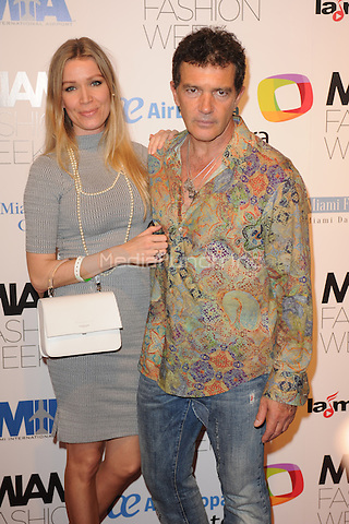 MIAMI, FL - JUNE 02: Nicole Kimpel and Antonio Banderas attend The Fisico Runway Show during Miami Fashion Week held at the Ice Palace Studios on June 2, 2016 in Miami Florida. Credit: mpi04/MediaPunch