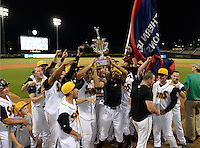Jacksonville Suns players celebrate winning the Southern League Championship Series against the Chattanooga Lookouts on September 12, 2014 at Bragan Field in Jacksonville, Florida.  Jacksonville defeated Chattanooga 6-1 to sweep three games to none.  (Mike Janes/Four Seam Images)