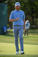 Derek Fathauer (USA) after sinking is putt on 14 during Round 1 of the Valero Texas Open, AT&amp;T Oaks Course, TPC San Antonio, San Antonio, Texas, USA. 4/19/2018.<br /> Picture: Golffile | Ken Murray<br /> <br /> <br /> All photo usage must carry mandatory copyright credit (&copy; Golffile | Ken Murray)