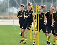 20180304 - LARNACA , CYPRUS :  Belgian Yana Daniels (left) pictured during a Matchday -1 training from The Belgian Red Flames prior to their game against Austria , on Sunday 4 March 2018 at the Alpha Sports Grounds in Larnaca , Cyprus . This will be the third game in group B for Belgium during the Cyprus Womens Cup , a prestigious women soccer tournament as a preparation on the World Cup 2019 qualification duels. PHOTO SPORTPIX.BE | DAVID CATRY