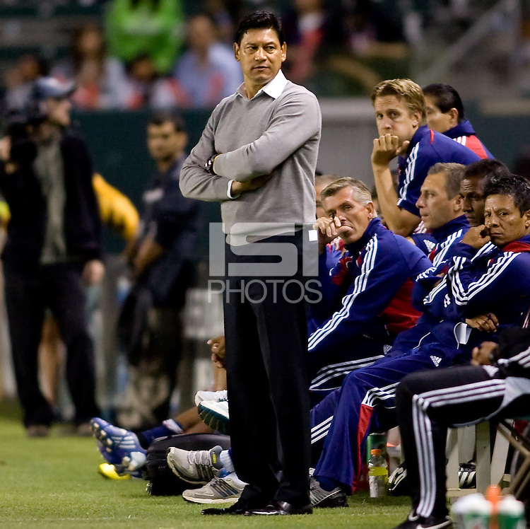 Chivas USA head coach Martin Vasquez watches his team from the sidelinel. CD Chivas USA beat DC United 1-0 at Home Depot Center stadium in Carson, California on Sunday August 29, 2010.