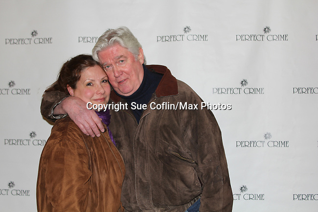 "David Butler who was in Days of our Lives and One Life to Live poses with his wife Anna as he stars as ""W. Harrison Brent"" in  Perfect Crime - 30th Anniversary off-Broadway on April 18, 2017 at Bernstein Theatre, New York City, New York. (Photo by Sue Coflin/Max Photos)"