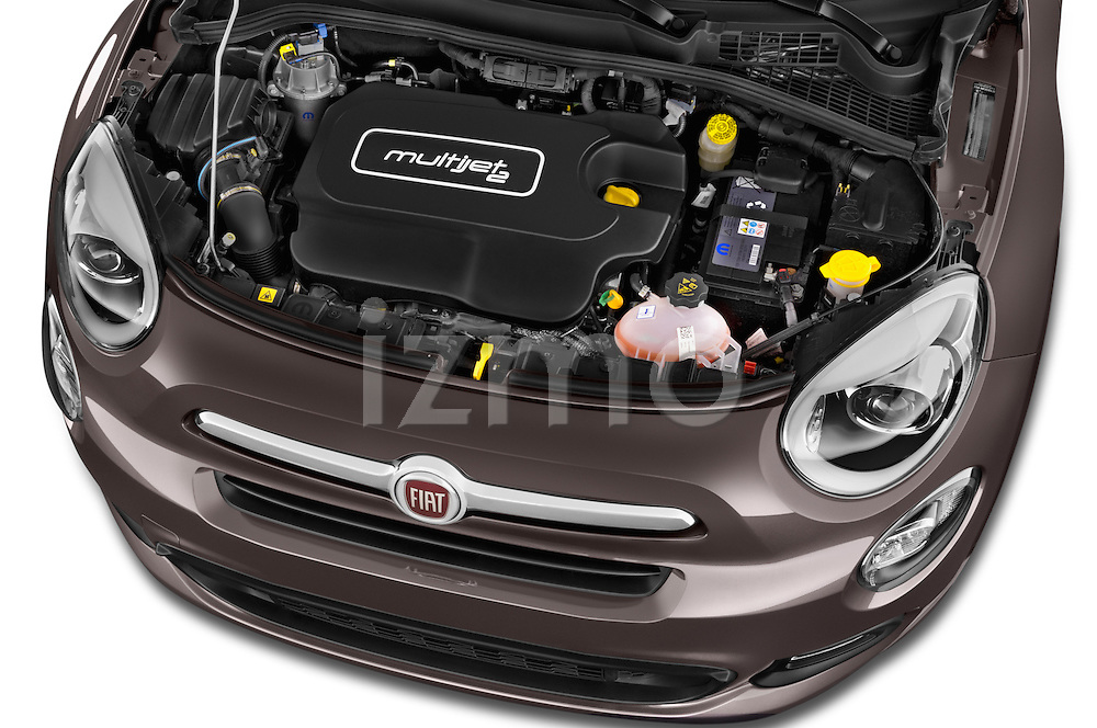 Car stock 2015 Fiat 500X Lounge 5 Door SUV engine high angle detail view