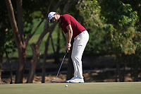 Thomas Pieters (BEL) on the 7th green during Round 1 of the Abu Dhabi HSBC Championship 2020 at the Abu Dhabi Golf Club, Abu Dhabi, United Arab Emirates. 16/01/2020<br /> Picture: Golffile | Thos Caffrey<br /> <br /> <br /> All photo usage must carry mandatory copyright credit (© Golffile | Thos Caffrey)