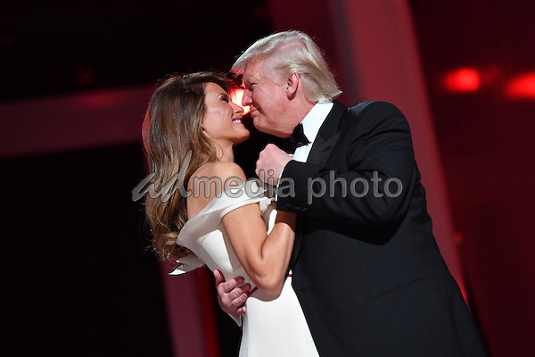 President Donald Trump and First Lady Melania Trump dance at the Liberty Ball at the Washington Convention Center on January 20, 2017 in Washington, D.C. Trump will attend a series of balls to cap his Inauguration day. Photo Credit: Kevin Dietsch/CNP/AdMedia