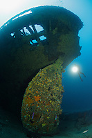 RS0055-D. scuba diver (model released) floats next to huge rudder of the SS Nord, an historic shipwreck lost in a 1915 storm off the Tasman Peninsula in 130 feet of water. Tasmania, Australia, Pacific Ocean.<br /> Photo Copyright &copy; Brandon Cole. All rights reserved worldwide.  www.brandoncole.com