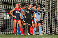 Piscataway, NJ - Saturday July 23, 2016: Megan Oyster, Kelsey Wys, Christie Rampone during a regular season National Women's Soccer League (NWSL) match between Sky Blue FC and the Washington Spirit at Yurcak Field.