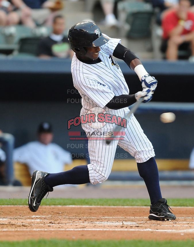 Outfielder Greg Golson (2) of the Scranton/Wilkes-Barre Yankees, International League affiliate of the New York Yankees, in a game against the Norfolk Tides on June 20, 2011, at PNC Park in Moosic, Pennsylvania. (Tom Priddy/Four Seam Images)