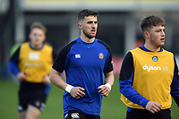 Tom De Glanville of Bath United looks on during the pre-match warm-up. Premiership Rugby Shield match, between Bath United and Gloucester United on April 8, 2019 at the Recreation Ground in Bath, England. Photo by: Patrick Khachfe / Onside Images
