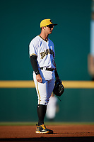 Bradenton Marauders third baseman Hunter Owen (13) during a game against the Tampa Tarpons on April 25, 2018 at LECOM Park in Bradenton, Florida.  Tampa defeated Bradenton 7-3.  (Mike Janes/Four Seam Images)