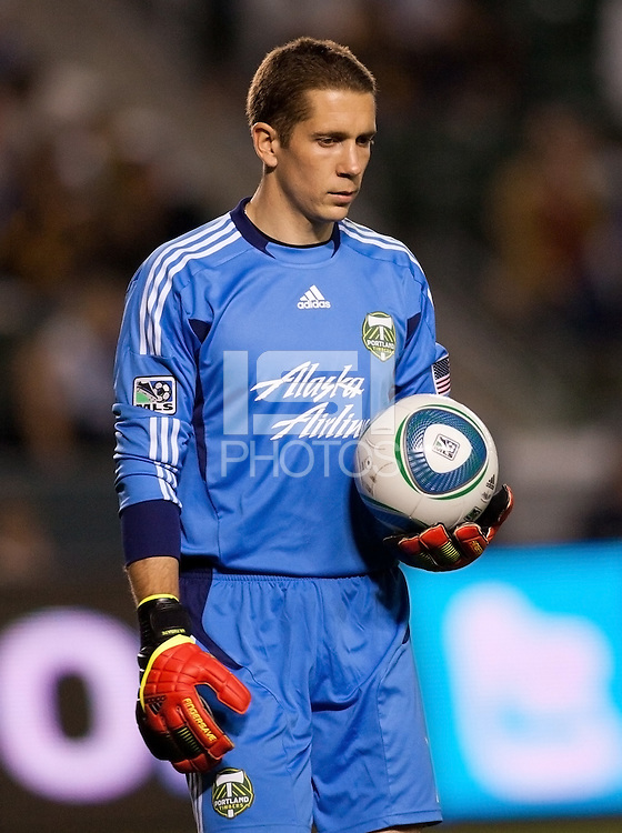 Portland Timbers goal keep Troy Perkins (1). The LA Galaxy defeated the Portland Timbers 3-0 at Home Depot Center stadium in Carson, California on  April  23, 2011....