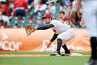 Birmingham Barons first baseman Nick Basto (25) waits to receive a throw during a game against the Jacksonville Jumbo Shrimp on April 24, 2017 at Regions Field in Birmingham, Alabama.  Jacksonville defeated Birmingham 4-1.  (Mike Janes/Four Seam Images)