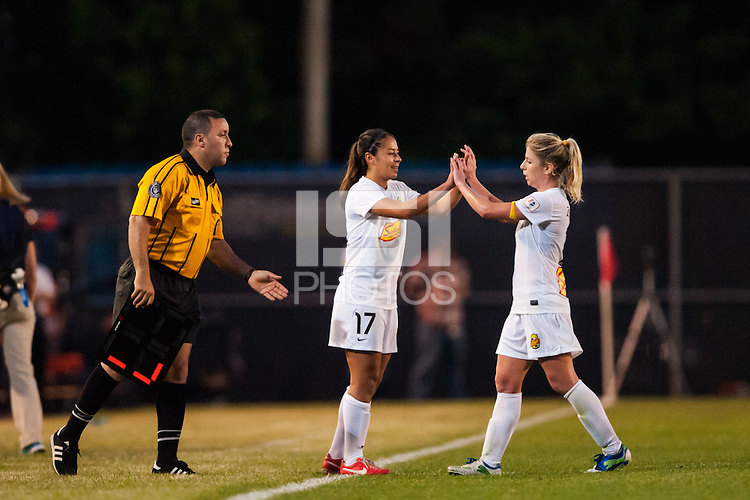 Western New York Flash midfielder McCall Zerboni (7) is subbed off for midfielder Veronica Perez (17). The Western New York Flash defeated Sky Blue FC 3-0 during a National Women's Soccer League (NWSL) match at Yurcak Field in Piscataway, NJ, on June 8, 2013.