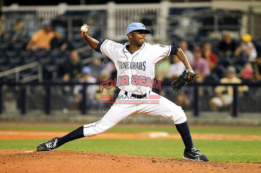 May 18, 2010 Pitcher Marquis Fleming of the Charlotte Stone Crabs delivers a pitch during a game at Charlotte Sports Park in Port Charlotte FL. The Stone Crabs are the Florida State League Class-A affiliate of the Tampa Bay Rays,  Photo by: Mark LoMoglio/Four Seam Images