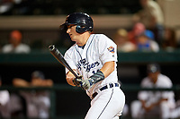 Lakeland Flying Tigers catcher Austin Athmann (19) follows through on a swing during a game against the Tampa Tarpons on April 5, 2018 at Publix Field at Joker Marchant Stadium in Lakeland, Florida.  Tampa defeated Lakeland 4-2.  (Mike Janes/Four Seam Images)