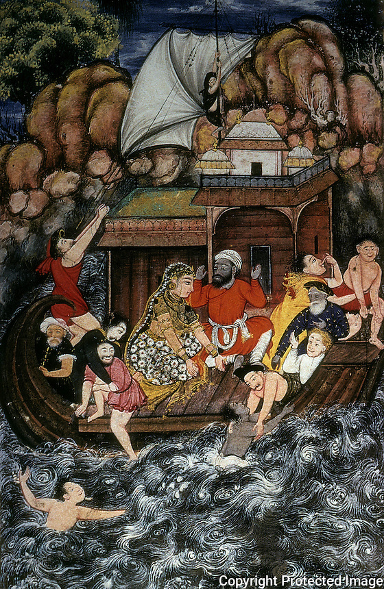 """Mughal India:  """"A Storm at Sea"""", 1560-1565.  This, it is said, represents a striking departure from both Persian and Indian miniature conventions in its bold naturalism and three-dimensionality. Each person """"is a study in terror""""."""