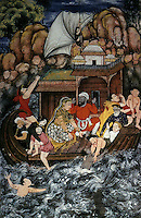 "Mughal India:  ""A Storm at Sea"", 1560-1565.  This, it is said, represents a striking departure from both Persian and Indian miniature conventions in its bold naturalism and three-dimensionality. Each person ""is a study in terror""."