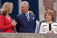 Washington, DC - March 19, 2015: His Royal Highness The Prince of Wales stands with Sonia Gutierrez (r) and Allison Kokkoros in front of the Carlos Rosario Public Charter School in the District of Columbia, March 19, 2015, during a four-day USA visit. Gutierrez is one of the original founders of the school and Kokkoros serves as its Executive Director/CEO. (Photo by Don Baxter/Media Images International)