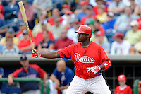 Philadelphia Phillies first baseman Ryan Howard #6 during a Spring Training game against the Boston Red Sox at Bright House Field on March 24, 2013 in Clearwater, Florida.  Boston defeated Philadelphia 7-6.  (Mike Janes/Four Seam Images)