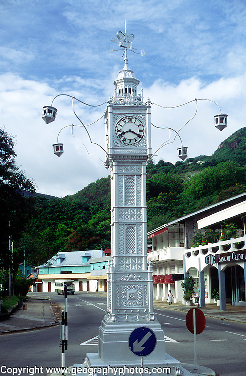 Clock tower modelled on Big Ben, in Victoria, Mahe, Seychelles photographed on a Sunday with streets almost deserted
