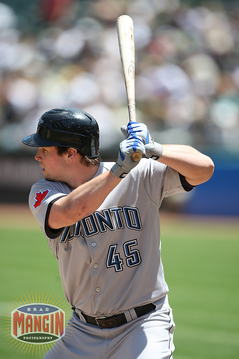 OAKLAND, CA - MAY 9:  Travis Snider #45 of the Toronto Blue Jays bats against the Oakland Athletics during the game at the Oakland-Alameda County Coliseum on May 9, 2009 in Oakland, California. Photo by Brad Mangin