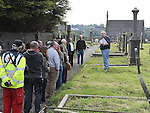 Historian Sean Collins gives a tour of the old Chord Cemetery organised by the Civic Thrust as part of the Arts Festival. Photo:Colin Bell/pressphotos.ie