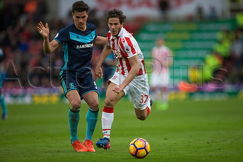 March 4th 2017,  bet365 Stadium, Stoke, England; EPL Premier League football, Stoke City versus Middlesbrough; Stoke's Ramadan Sobhi chases down a loose ball