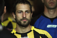 Phoenix captain Andrew Durante waits to run out of the tunnel during the A-League football match between Wellington Phoenix and Perth Glory at Westpac Stadium, Wellington, New Zealand on Sunday, 16 August 2009. Photo: Dave Lintott / lintottphoto.co.nz
