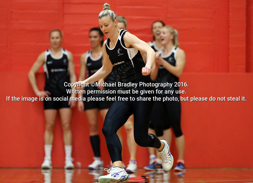 13.09.2016 Silver Ferns Katrina Grant in action during training ahead of their second netball match tomorrow night between the Silver Ferns and Jamaica in Palmerston North. Mandatory Photo Credit ©Michael Bradley.