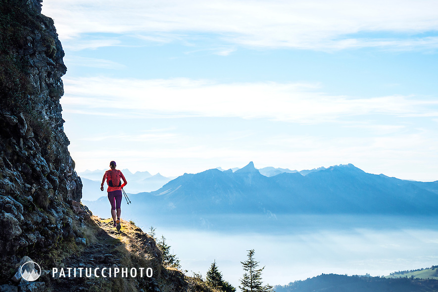 Trail running on the Sigriswilgrat, a section of the pre-Alps above Lake Thun and Interlaken, Switzerland