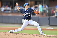 Asheville Tourists starting pitcher Ryan Feltner (14) delivers a pitch during a game against the Lakewood BlueClaws at McCormick Field on August 3, 2019 in Asheville, North Carolina. The BlueClaws defeated the Tourists 10-6. (Tony Farlow/Four Seam Images)
