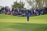 Rory McIlroy (Team Europe) on the 4th green during the Friday Foursomes at the Ryder Cup, Le Golf National, Ile-de-France, France. 28/09/2018.<br /> Picture Thos Caffrey / Golffile.ie<br /> <br /> All photo usage must carry mandatory copyright credit (© Golffile | Thos Caffrey)