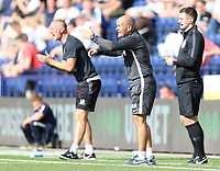 Preston North End manager Alex Neil shouts instructions to his team from the dug-out <br /> <br /> Photographer Rich Linley/CameraSport<br /> <br /> The EFL Championship - Preston North End v Sheffield Wednesday - Saturday August 24th 2019 - Deepdale Stadium - Preston<br /> <br /> World Copyright © 2019 CameraSport. All rights reserved. 43 Linden Ave. Countesthorpe. Leicester. England. LE8 5PG - Tel: +44 (0) 116 277 4147 - admin@camerasport.com - www.camerasport.com