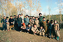 Iran 1979.Teacher with his students in a village